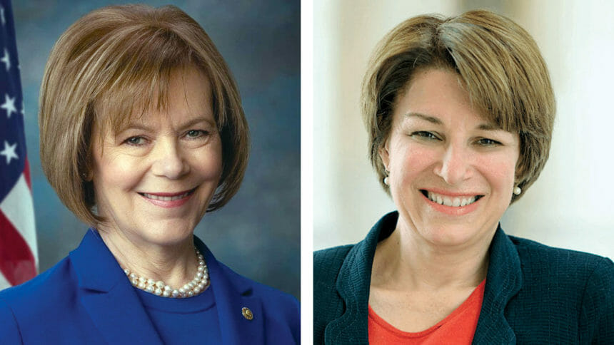 Amy Klobuchar and Tina Smith, first all-female U.S. Senate delegation from Minnesota placeholder image.